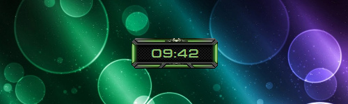 Space-Clock-Green